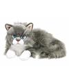 Grijze/witte Ragdoll poezen/katten knuffel 25 cm