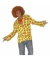 Hippie verkleed overhemd groen/oranje voor heren