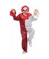 Horror clown kostuum met masker rood/wit