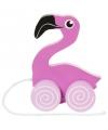Flamingo houten trekdier 13 cm