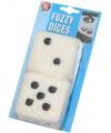 Pluche speelgoed dobbelstenen wit