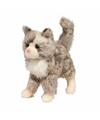 Pluche kat knuffel grijs 30 cm
