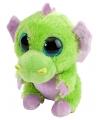 Knuffeldiertje draakje pluche groen/paars 13 cm