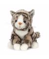 Pluche knuffel grijze kat/poes met zwarte strepen 16 cm