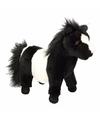 Knuffel pony zwart met wit 36 cm