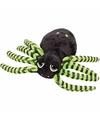 Pluche spin knuffel zwart/groen 14 cm