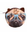 Mini portefeuille bruine mopshond met bril