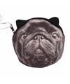 Mini portefeuille zwarte mopshond