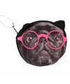 Mini portefeuille zwarte mopshond met bril