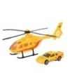 Gele reddingshelikopter en auto set